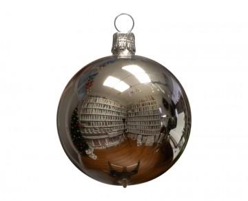 Vánoční koule stříbrná, lesklá