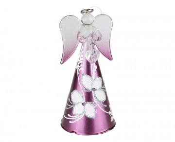 Skleněný anděl fialový, střední