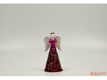 Skleněný anděl fialovorůžový, střední