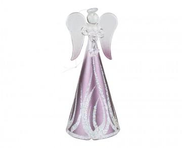 Skleněný anděl fialový, malý