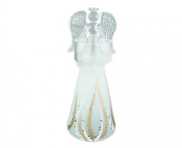 Skleněný anděl zlatý, svícen