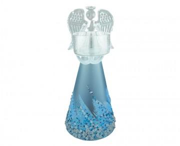 Skleněný anděl modrý, svícen
