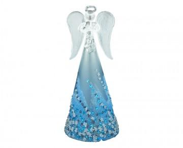 Skleněný anděl modrý, velký