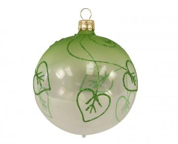 Vánoční koule zelená čirá, lístek