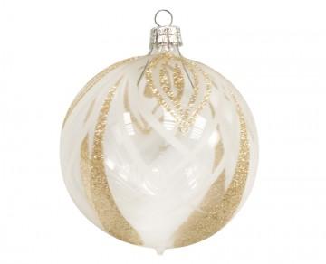Vánoční koule zlatá čirá, čáry lístky