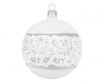 Vánoční koule čirá, dekor krajka