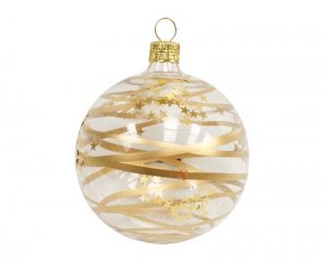 Vánoční koule zlatá čirá, proužky hvězdičky