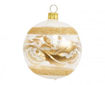 Vánoční koule zlatá čirá, proužky lístky
