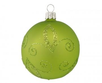 Vánoční koule olivová, spirálka lístek