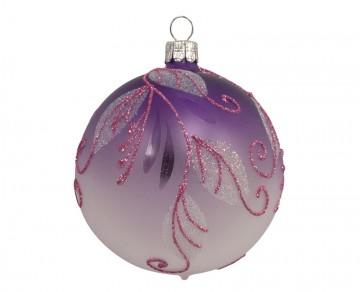 Vánoční koule fialová, spirálka lístek