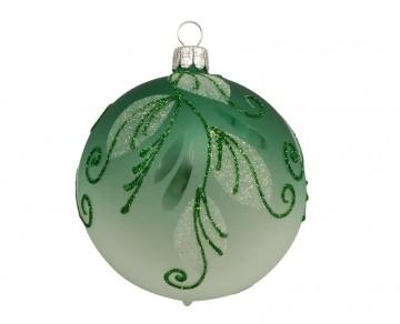 Vánoční koule zelená, spirálka lístek
