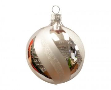 Vánoční koule stříbrná, šikmý proužek