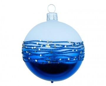 Vánoční koule stříbrná, proužek