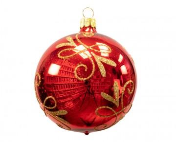Vánoční koule červená, spirálka lístek
