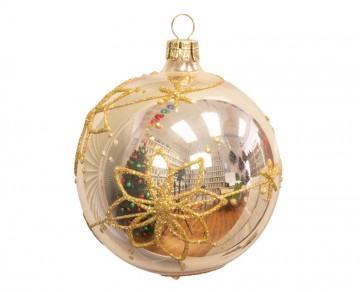 Vánoční koule šampáňo světlé, květy