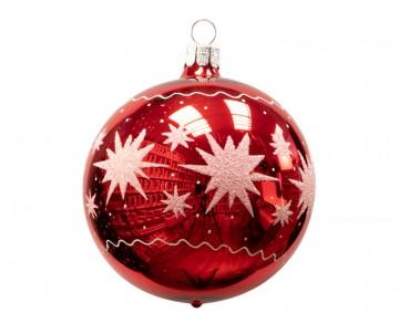 Vánoční koule červená, hvězdičky