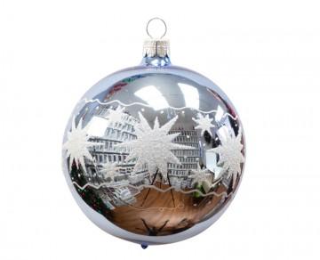 Vánoční koule bleděmodrá, hvězdy