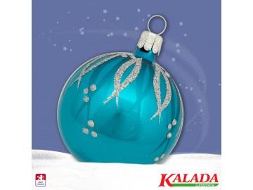 Vánoční koule tyrkysová tmavá, proužky puntík