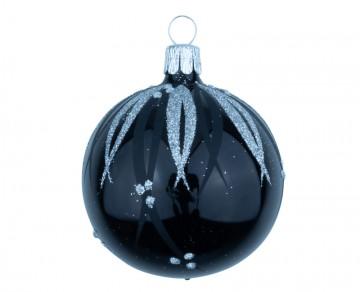 Vánoční koule černá, proužky puntík