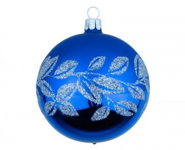 Vánoční koule modrá tmavá, lístky
