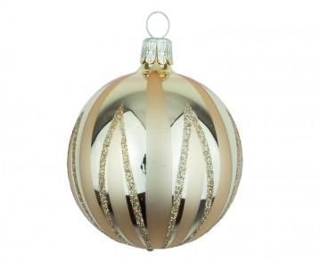 Vánoční koule zlatá světlá, čáry