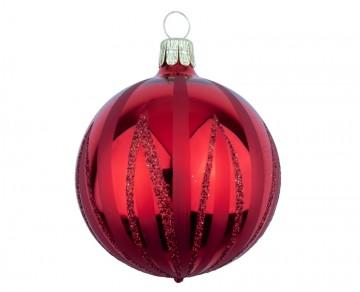 Vánoční koule červená, čáry