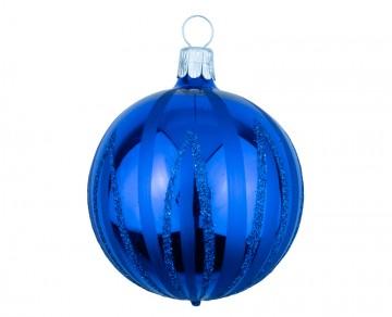 Vánoční koule modrá tmavá, čáry