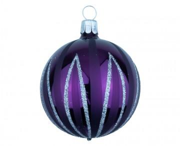Vánoční koule fialová tmavá, čáry