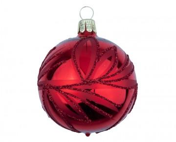 Vánoční koule červená, lístky
