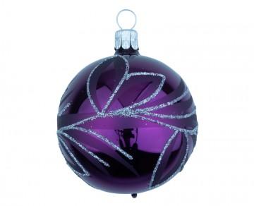 Vánoční koule fialová tmavá, lístky