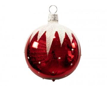 Vánoční koule červená, sníh