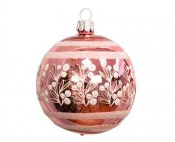 Vánoční koule růžová jasná, keříky