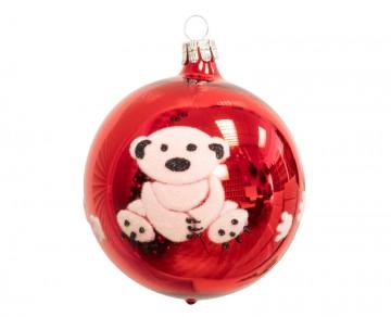 Vánoční koule červená, medvídek