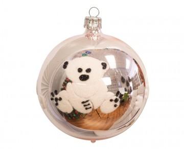 Vánoční koule pudrová, medvídek