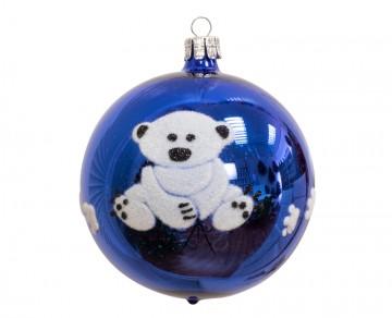 Vánoční koule modrá tmavá, medvídek