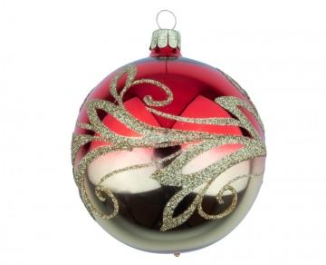 Vánoční koule červená, vlnky