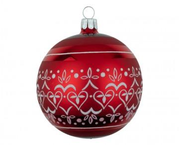 Vánoční koule červená, dekor krajka