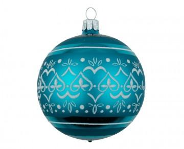 Vánoční koule tyrkysová tmavá, dekor krajka