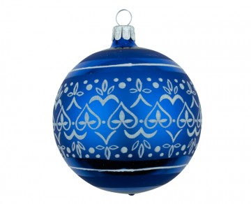 Vánoční koule modrá tmavá, dekor krajka