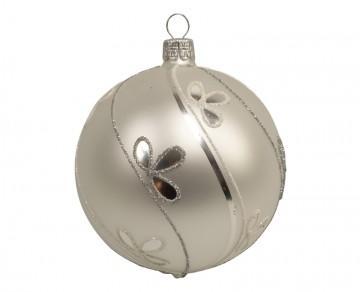 Vánoční koule perleťová, šikmá vlnka lístek