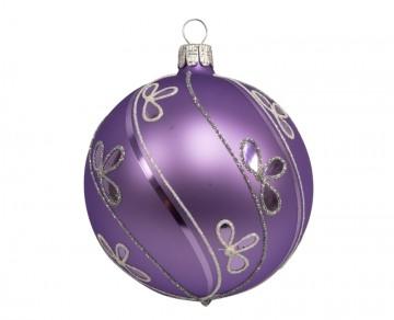 Vánoční koule fialová světlá, šikmá vlnka lístek