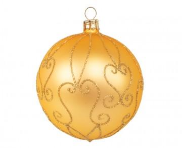 Vánoční koule zlatá tmavá, spirálka srdce