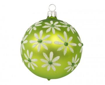 Vánoční koule olivová, květy