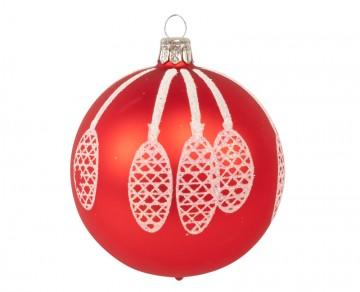 Vánoční koule červená, šišky