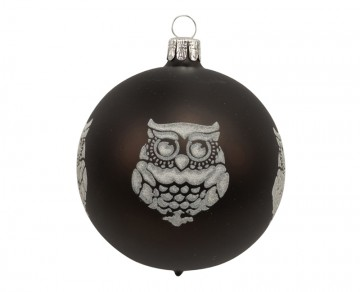 Vánoční koule černá, sova