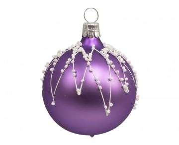 Vánoční koule fialová světlá, rampouchy perličky