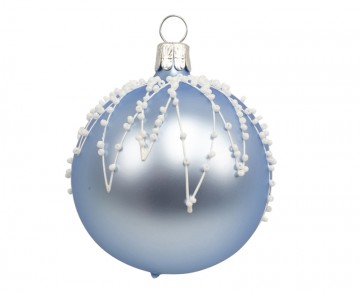 Vánoční koule bleděmodrá, rampouchy perličky