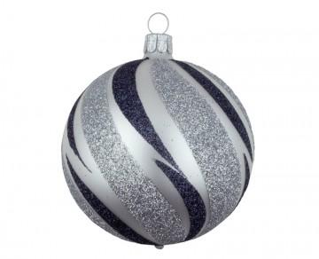 Vánoční koule perleťová, šikmý proužek