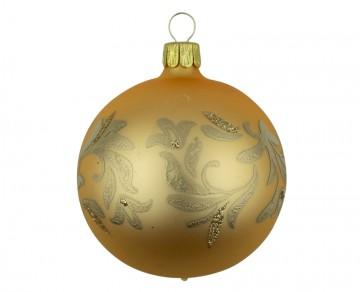Vánoční koule zlatá tmavá, lístky