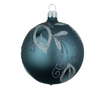 Vánoční koule šedomodrozelená světlá, lístky